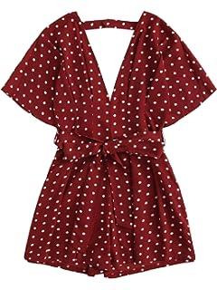 7679149f7e2 Amazon.com  Romwe Women s Sexy Tie Front Ruffle Hem Colorblock ...