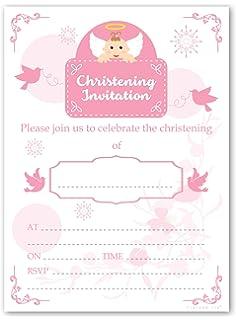 christening invitations pack of 20 sheets girl amazon co uk