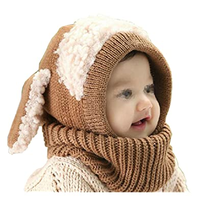 1PCS Khaki Winter Warmer Knitted (1~4years old ) Baby Kids Child Children Hats Scarf Set Cap And Neck Warmers For Boy Girl