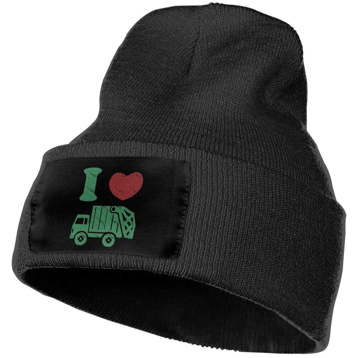 Men /& Women I Love Trash Garbage Trucks Outdoor Warm Knit Beanies Hat Soft Winter Skull Caps