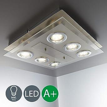 Lámpara de techo LED con 6 focos GU10 de 3W 230V, Color níquel mate,