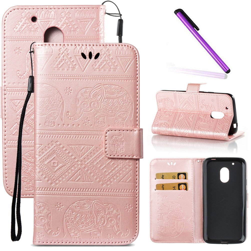 hot sales 643ce 5a351 Moto G4 Case, Moto G4 Plus Case LEECOCO Unique Embossed Wallet Case with  Card Cash Holder Slots Wrist Strap [Kickstand] PU Leather Flip Case Cover  for ...