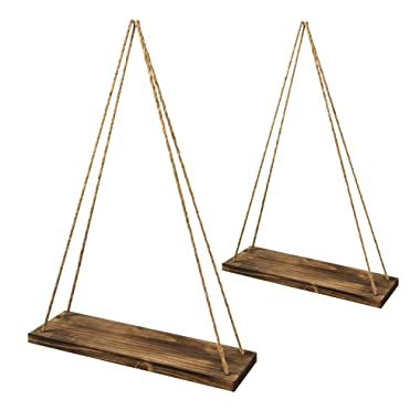 Spruce & Pine 17-Inch Distressed Wood Hanging Swing Rope Floating Shelves, Rustic Home Wood Suspended Shelf, Farmhouse Modern Wall Decor, with Mounting Hooks, Set of 2, Brown