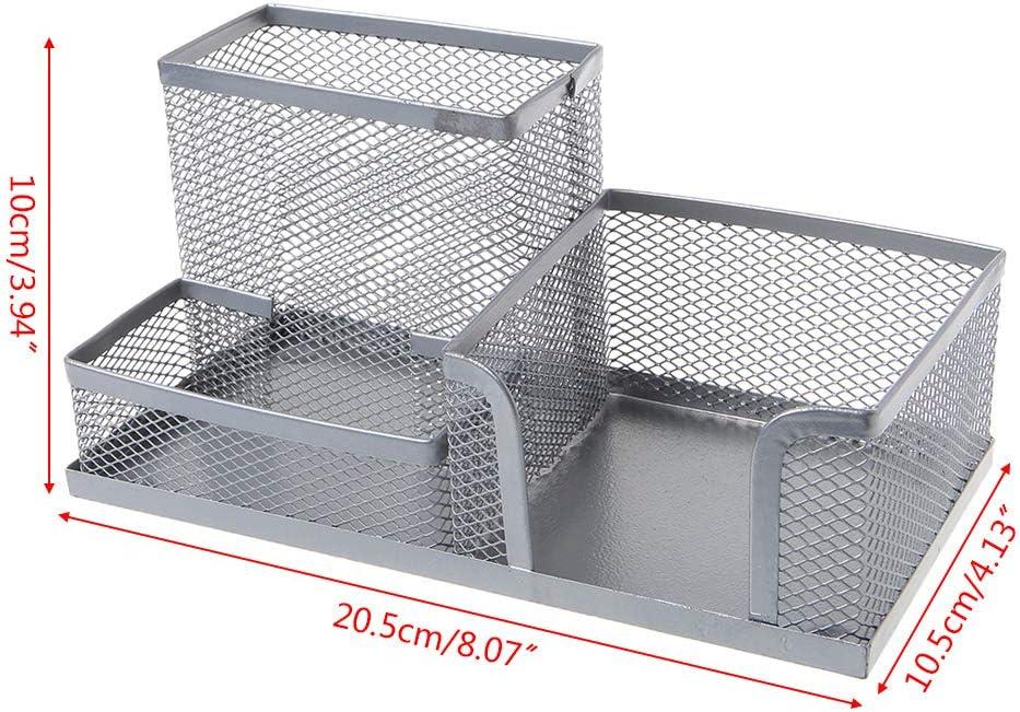 Organizer da scrivania con 3 scomparti 20,5 x 10,5 x 10 cm blu Mayoaoa in metallo