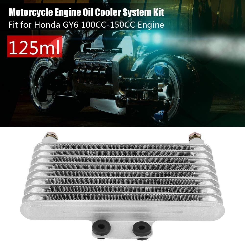 KIMISS 125ml Kit de sistema de radiador de enfriamiento del aceite Enfriador de aceite con 2pcs Tornillos hueco para motor GY6 100CC-150CC(plata): ...