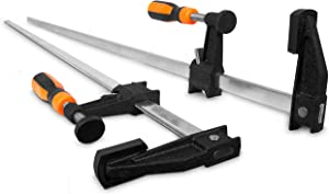 WEN 10236F2 Quick-Adjust 36-Inch Steel Bar Clamps with 2.5-Inch Throat and Micro-Adjustment Handle, Two Pack