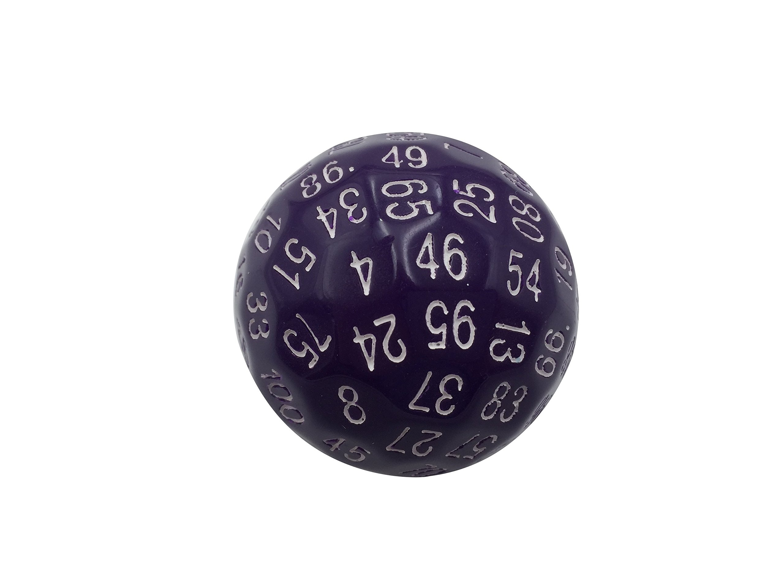 Skull Splitter Dice Single 100 Sided Polyhedral Dice (D100) | Solid Purple Color with White Numbering (45mm)