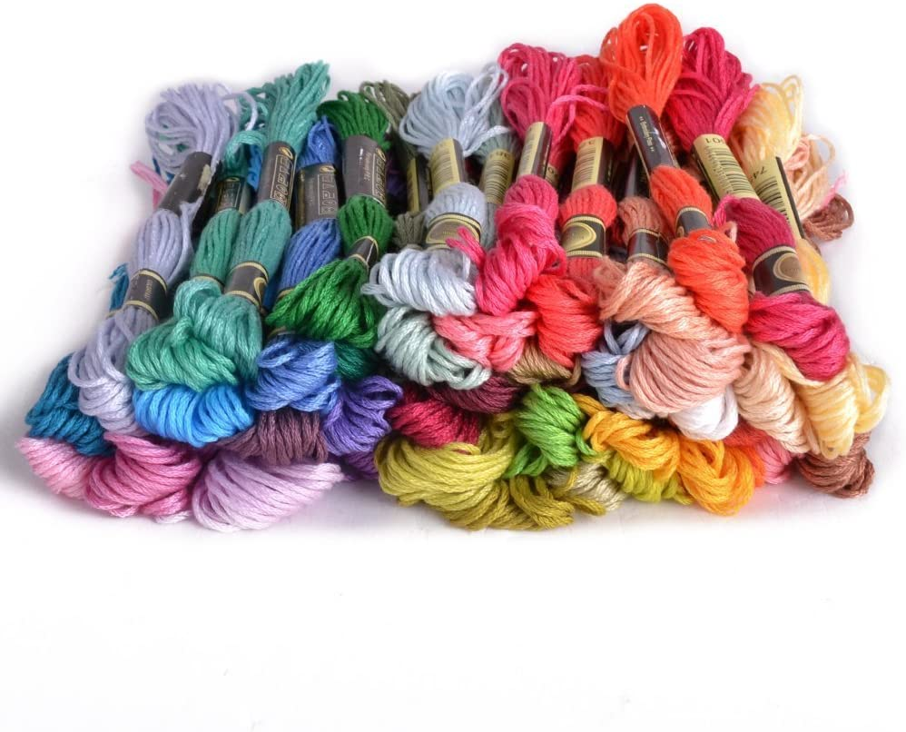100/% Cotton 50 x Assorted Coloured Skeins Multicolor CRSF002 Embroidery Thread