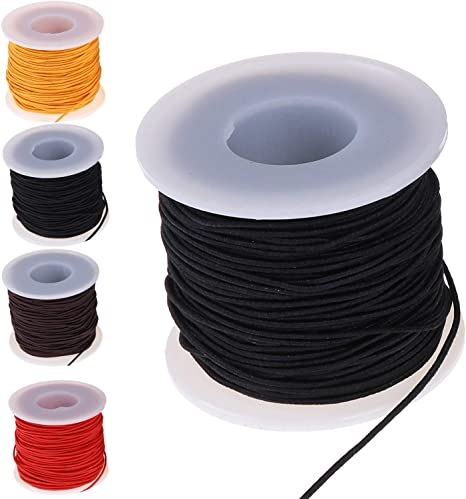 White and Black Zealor 2 Roll 1 mm Elastic String Cord Elastic Thread Beading String Cord for Jewelry Making Bracelets Beading 100 Meters//Roll