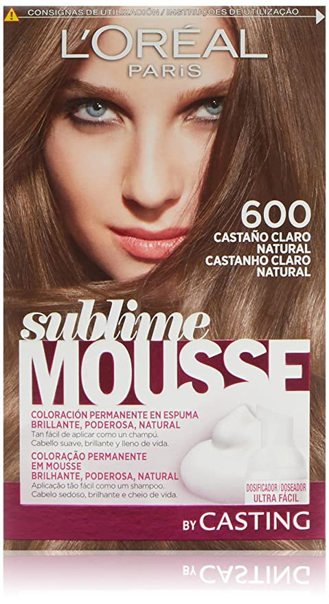 LOréal Paris Sublime Mousse Coloración Permanente, Tono: 600 Castaño Claro Natural -