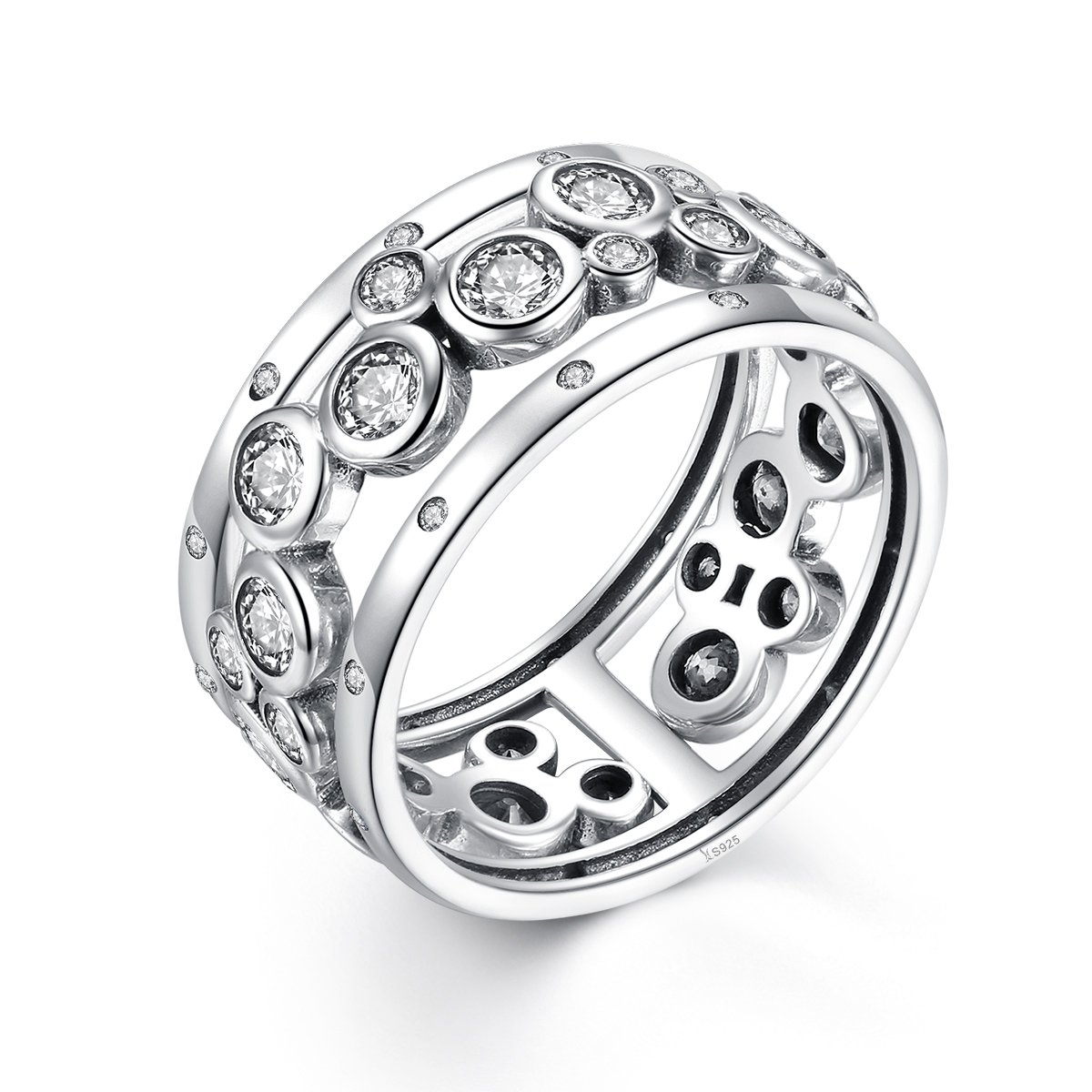 Clear CZ The Kiss Classic Round Circle 925 Sterling Silver Statement Ring