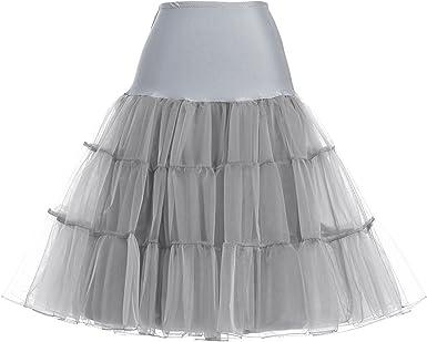 GRACE KARIN Enagua Gris para Mujer 50s Tutu Mini Falda Falda de ...