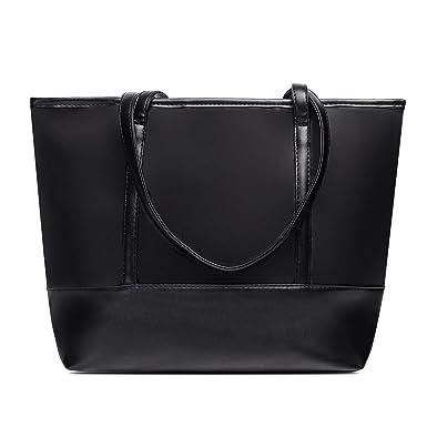 817c103353ee8 Amazon.com  Vintga Large Fashion Totes Bag Shoulder Bag Top Handle Satchel  Handbag Purse for Women (Black Splicing)  Clothing