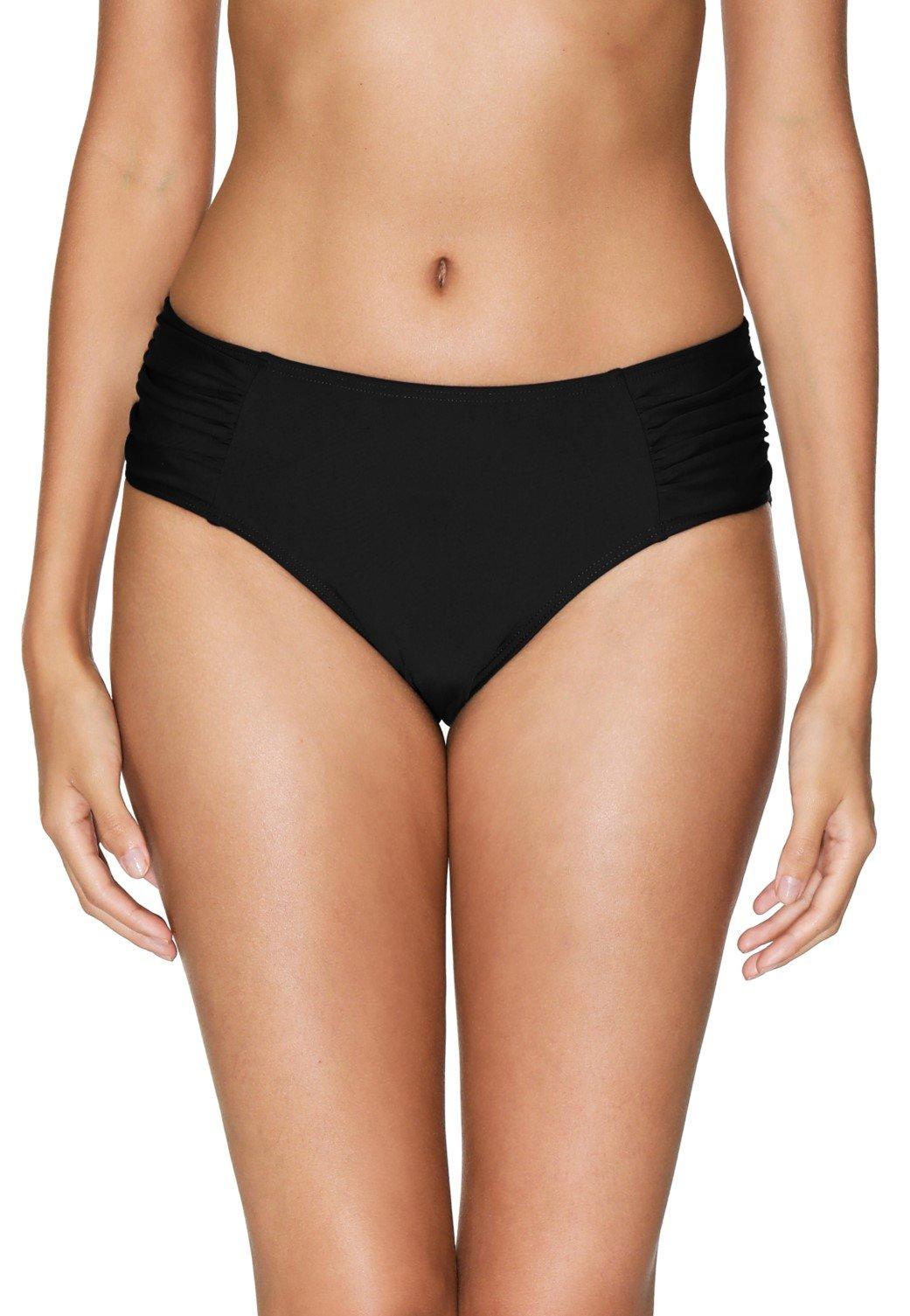 eulo Women's High Waisted Swim Bottom Ruched Bikini Tankini Swimwear Briefs Black L