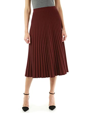 af06de36a4 PattyBoutik Women Pleated Midi Knit Skirt at Amazon Women's Clothing store: