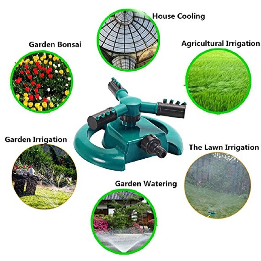 YOTIPP Lawn Sprinkler, 360°Automatic Rotating Portable Garden Sprinkler 3 Arm Sprayer, Adjustable Garden Water Sprinklers Lawn Irrigation Watering System- Water up to 3,600 Sq. Ft. Coverage