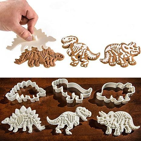 Luckstar fósiles de Dinosaurio galletas hacer moldes – 3 unidades dinosaurio PVC crema Chocolate decoración moldes