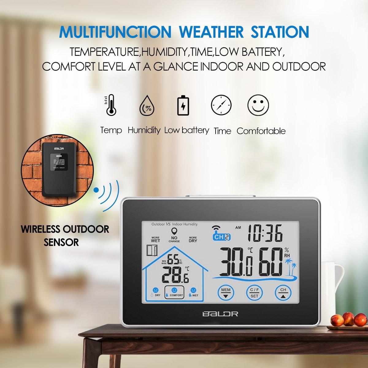 Estación Meteorológica Inalámbrica Interior y Exterior Fochea Termómetro Higrómetro Digital Multifunción con Pantalla Táctil LCD para el Hogar Cocina ...