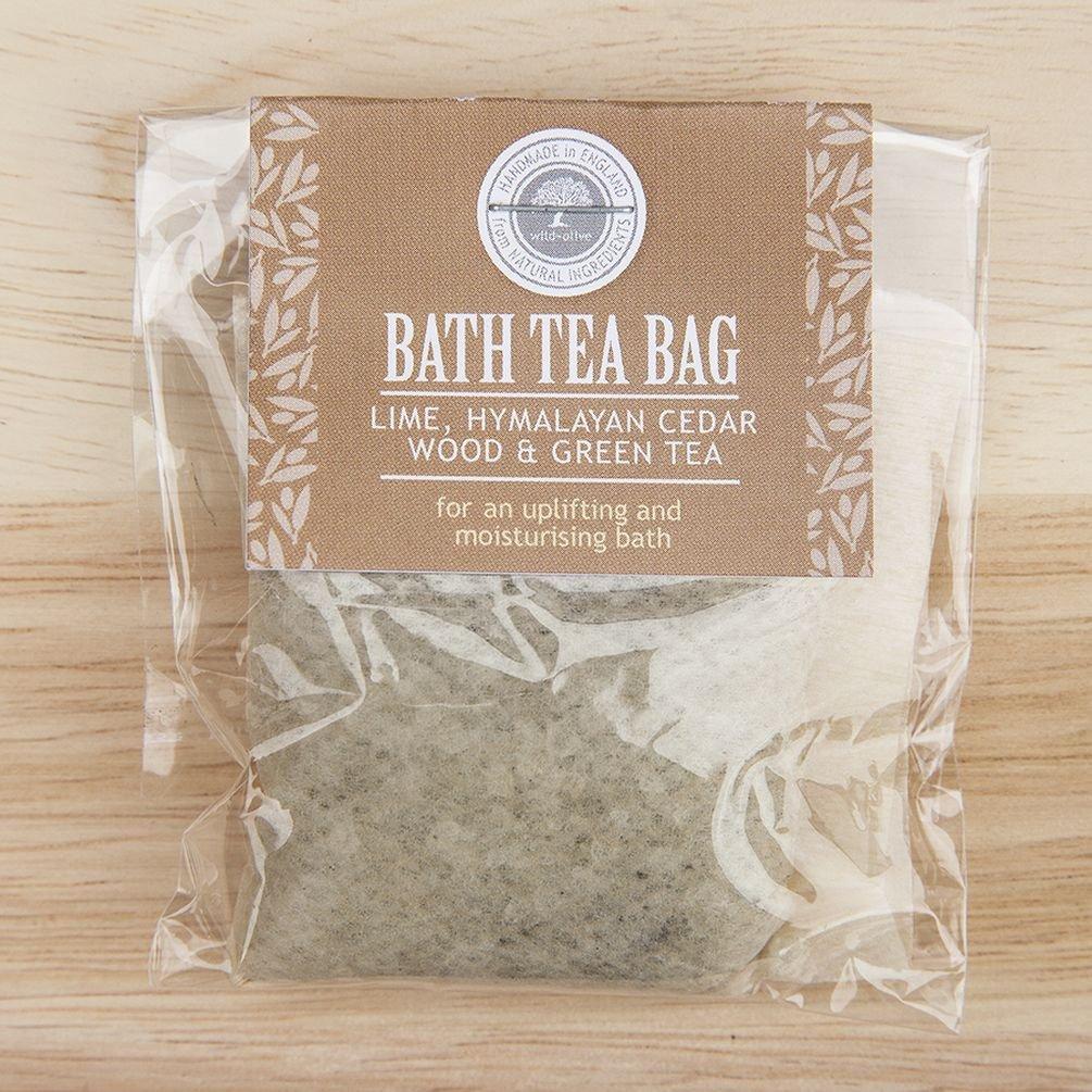Lime, Cedar Wood and Green Tea Bath Tea Bag by Wild-Olive Ltd TGO