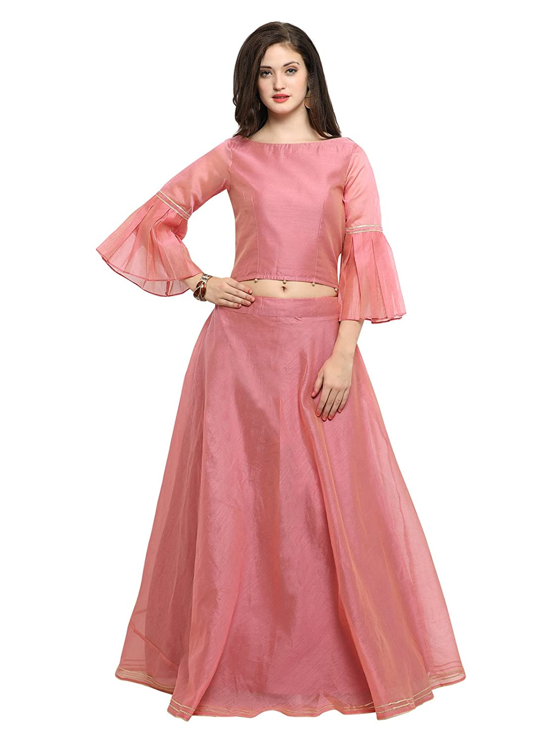 9aab342f4d Inddus Women's Cotton Top with Chanderi Flared Skirt (Pink, Free Size):  Amazon.in: Clothing & Accessories