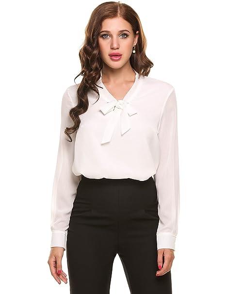 cooshional Mujer Camisa Casual de Gasa Pajarita Cuello Manga Larga Sólido Blusa