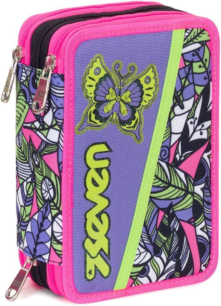 Estuche 3 Cremalleras Seven , Butterfly , Negro Multicolor , Pisos con Contenido: Lápices, Rotuladores ...: Amazon.es: Equipaje