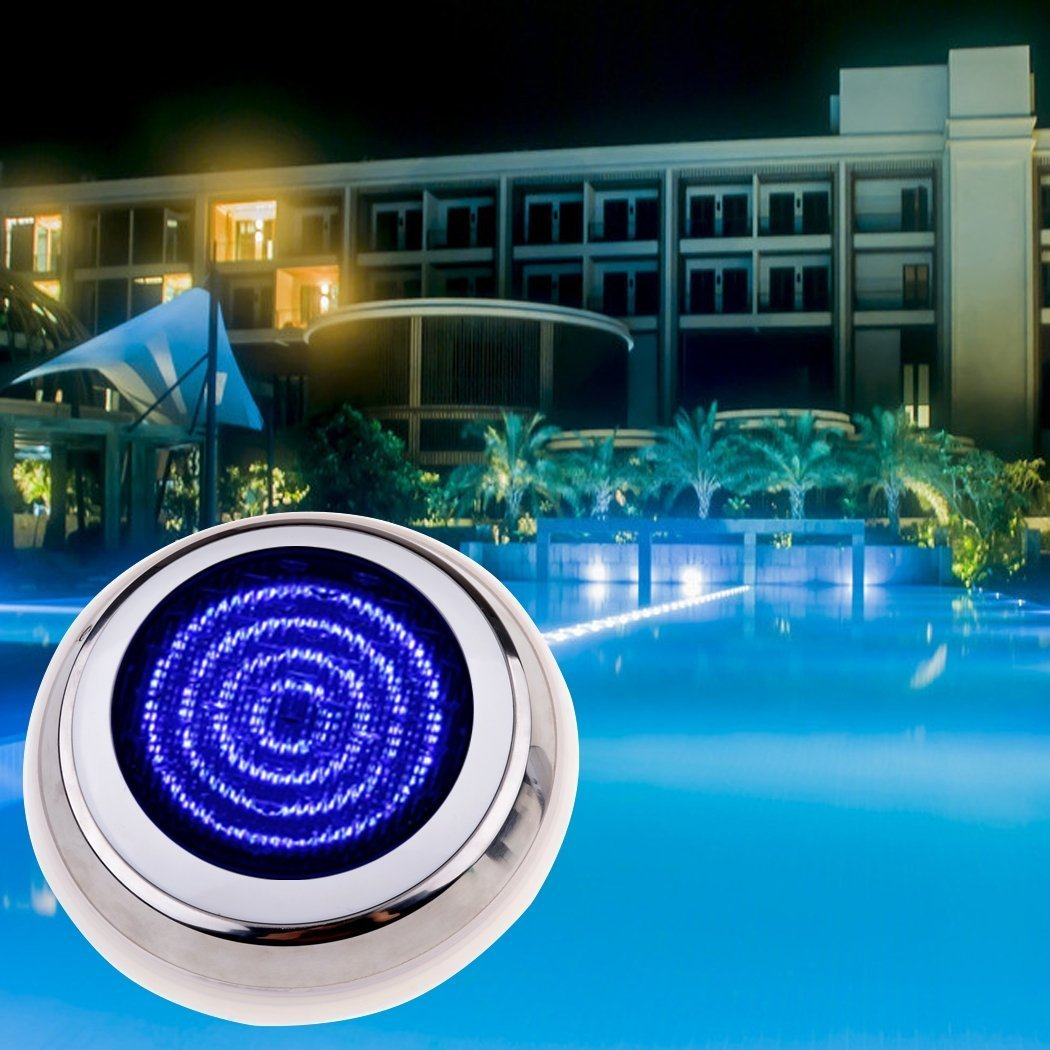 Leoneva 12V 558 LED RGB Underwater Swimming Pool Light 7 Colors Changing Bulb Submersible Waterproof Outdoor Fountain Lamp with Remote Control(US Stock)