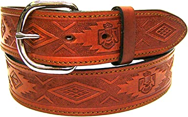 Modestone Unisex Embossed Leather Belt 1.5 Width 1//8 Thick Brown