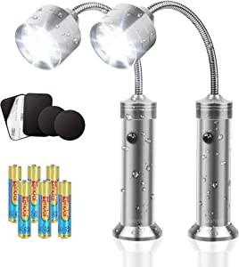 LUANSEL Grill Lights for BBQ - Water & Heat Resistant Magnetic BBQ Lights for Grill with Adjustable 360 Degree Flexible Gooseneck – Outdoor Grilling LED Barbecue Light (Batteries Included) – 2 Pack