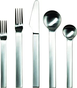 Gourmet Settings 20-Piece Silverware Pure Collection-Matte Stainless Steel Flatware Sets Service for 4, Kitchen Cutlery Utensil Knife/Fork/Spoons