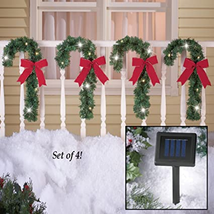 solar lighted candy cane bow fence porch wreath outdoor christmas holiday yard decoration