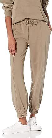The Drop Pantalón para Mujer, Dominique, Jogger Informal de Forro Polar Lavado con Costuras, Verde Vetiver,2X, Talla Grande
