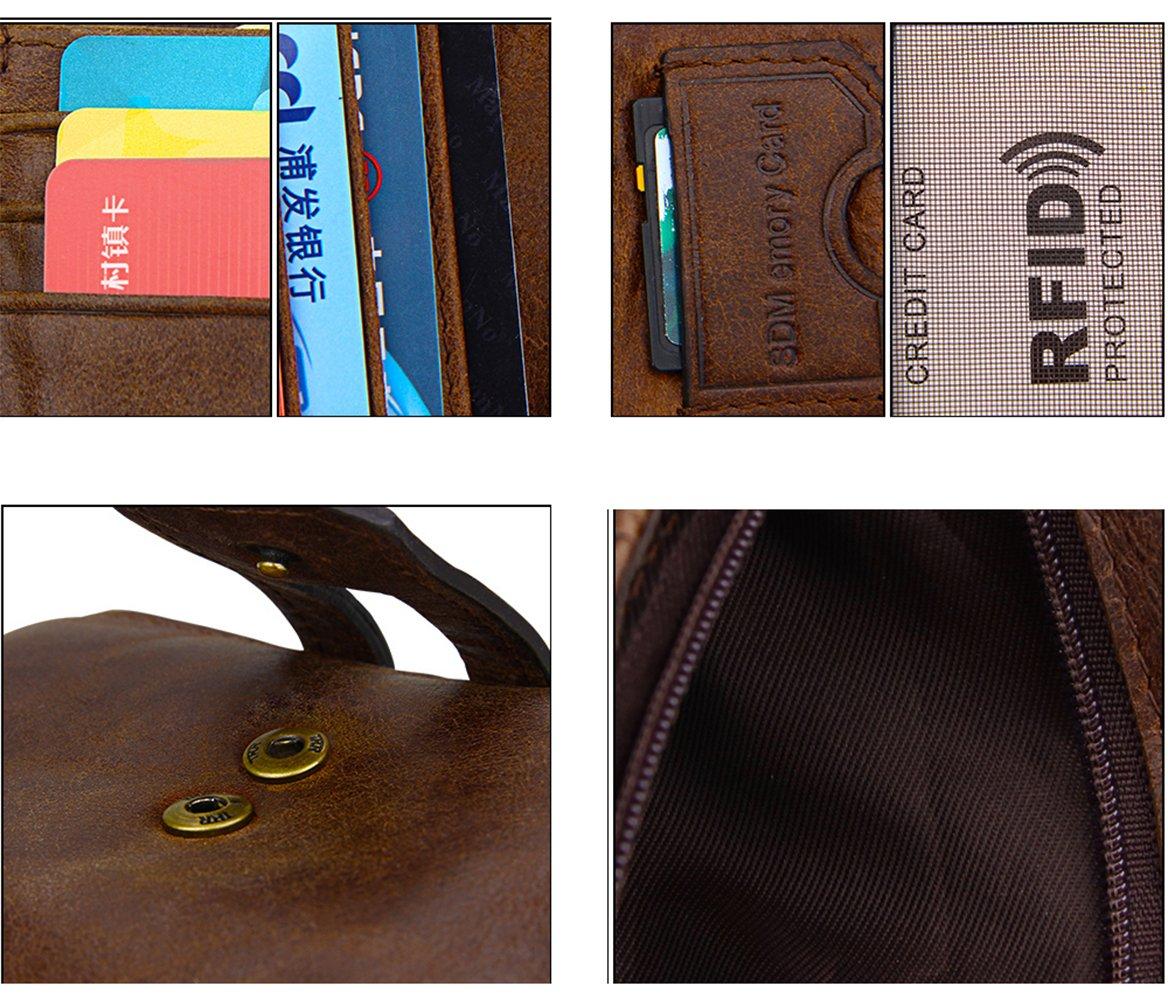 iSuperb Men's RFID Blocking Wallet Bifold Short Purse Multi Card Organizer with Double Zipper (Coffee) by iSuperb (Image #7)