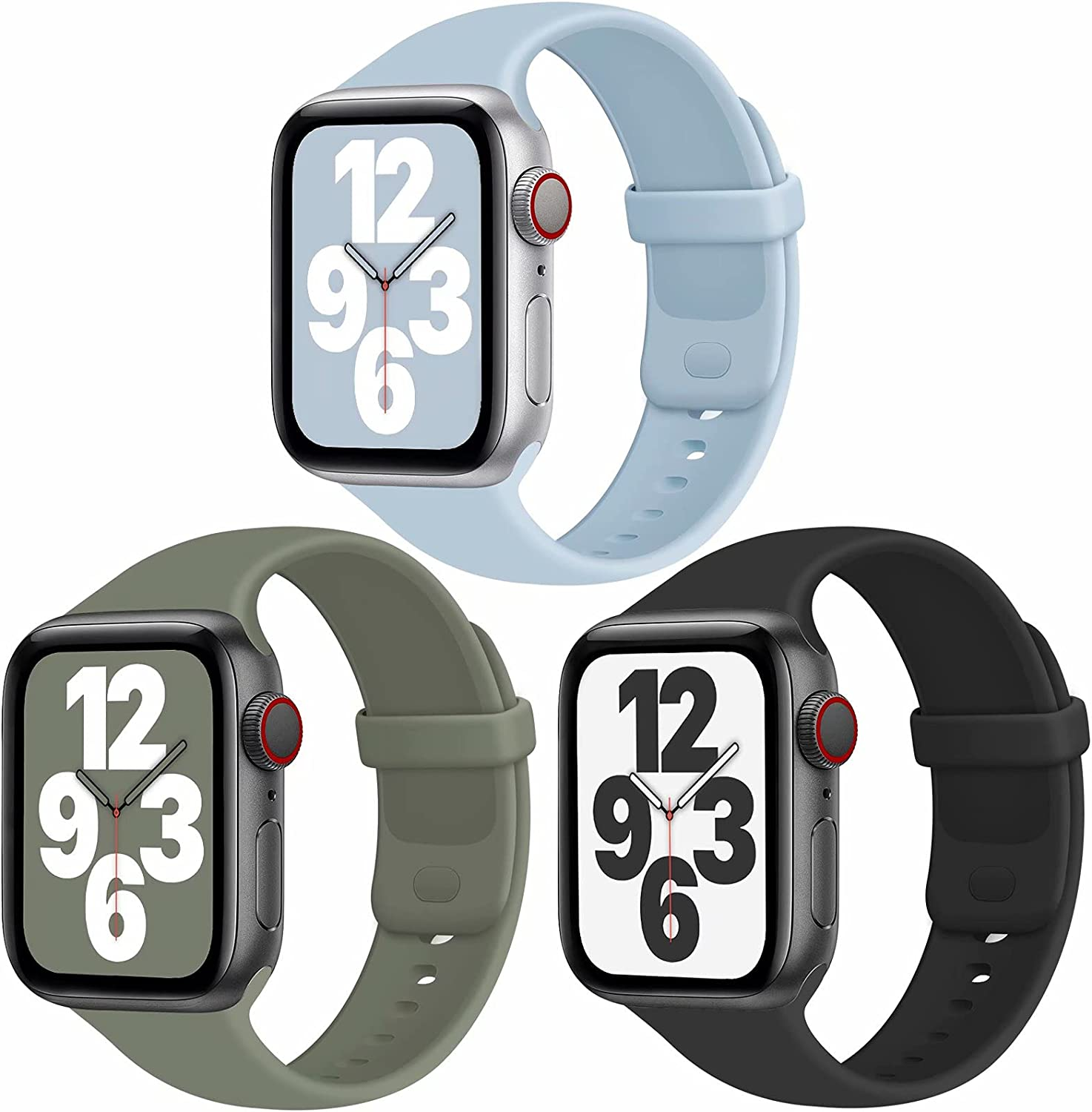 JuQBanke Sport Bands Compatible with Apple Watch Band 38mm 42mm 40mm 44mm, Soft Silicone Sport Band Replacement Strap Compatible with iWatch Series SE 6 5 4 3 2 1 Women Men (H 38mm 40mm)