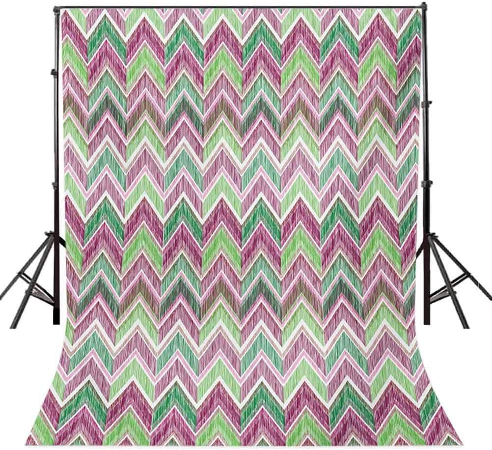 Zigzag 10x12 FT Photography Backdrop Doodle Style Chevron Line Tribal Pattern Ornamental Stripes Illustration Background for Baby Shower Bridal Wedding Studio Photography Pictures