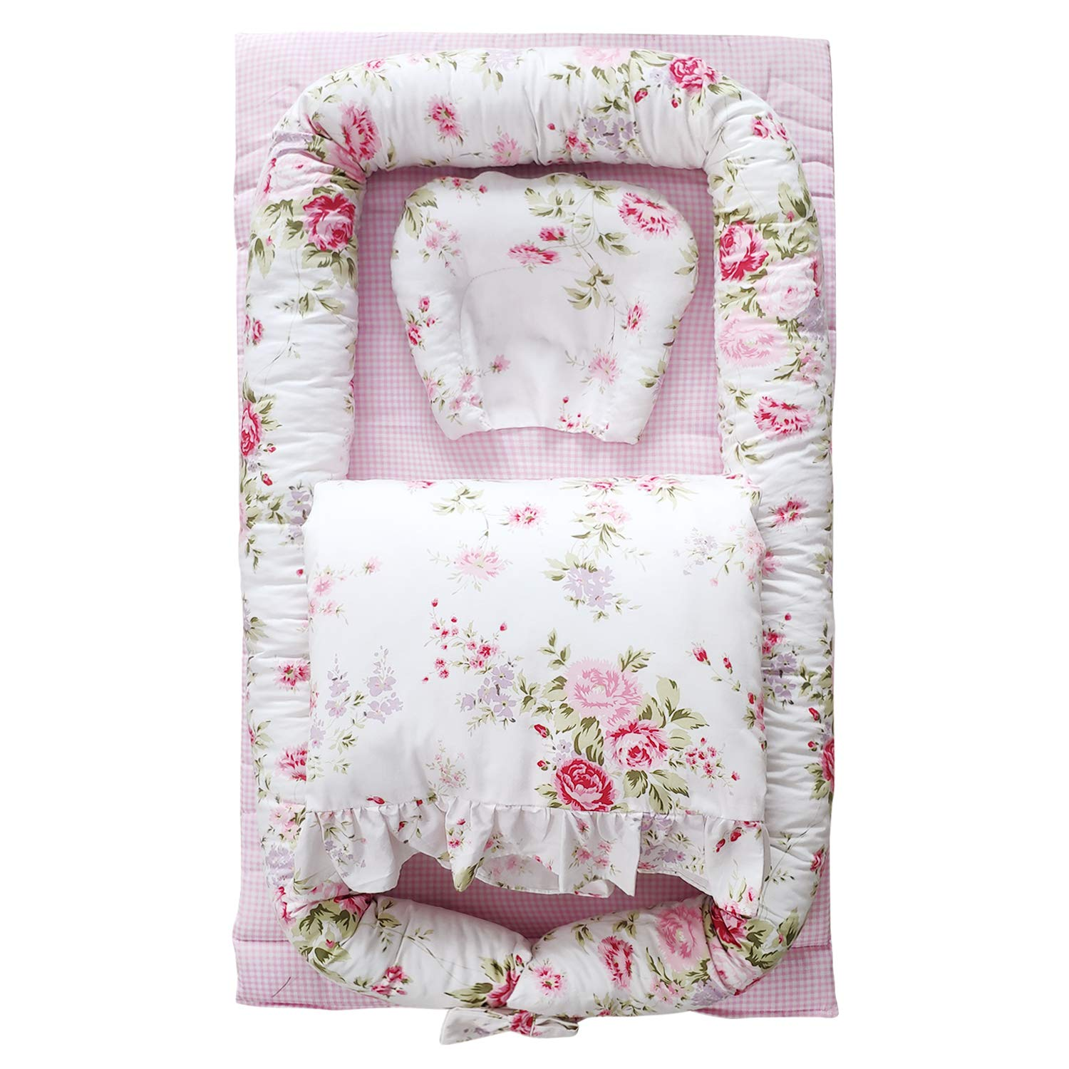 Abreeze Baby Bassinet for Bed -Rose Floral Plaid Baby Lounger Including Comforter- Breathable & Hypoallergenic Co-Sleeping Baby Bed - 100% Cotton Portable Crib for Bedroom/Travel 0-24 Months by Abreeze