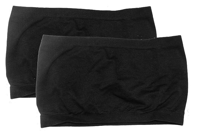 Niki Biki nailon/elastano sin costuras sin tirantes tubo Top Bandeau Sujetador funda, un tamaño, 2 paquete: Negro y negro: Amazon.es: Ropa y accesorios