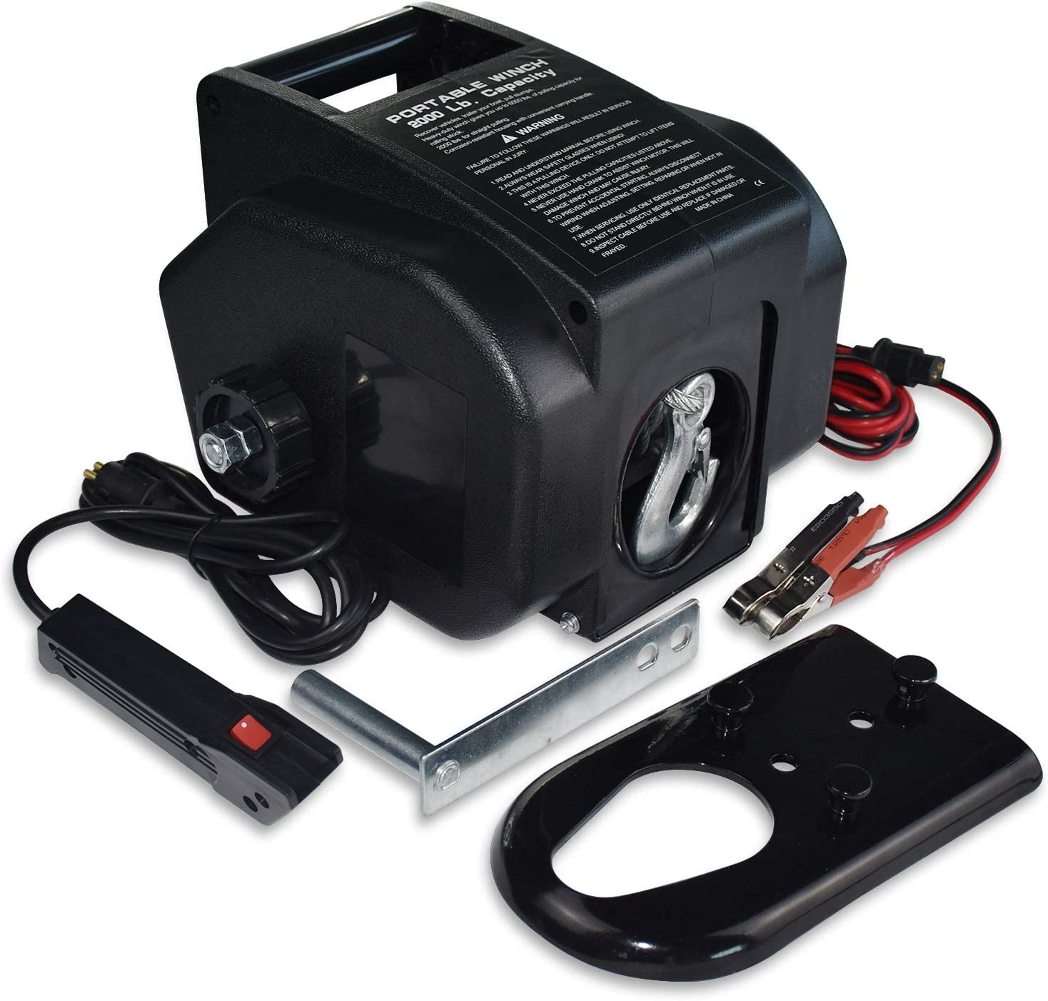 for Boats up to 6000 lbs 12V DC,Power-in and Freewheel Operations Hantun Trailer Winch,Reversible Electric Winch Power-Out with Corded Remote Control /& Hand Crank