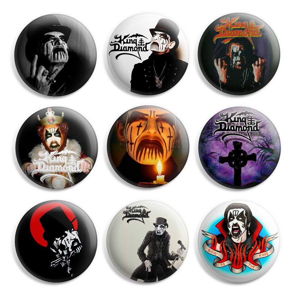 King Diamond Pinback Buttons Pin Badges 1 Inch (25mm) - Pack of 9