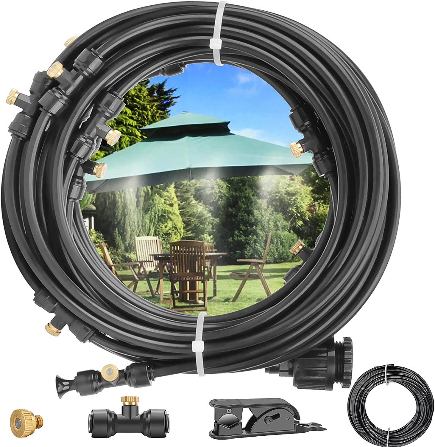 Amagoing Misting Cooling System 62.33ft(19M) Outdoor Misters for Patio Garden Greenhouse Trampoline Waterpark with 15pcs Brass Nozzles+3/4