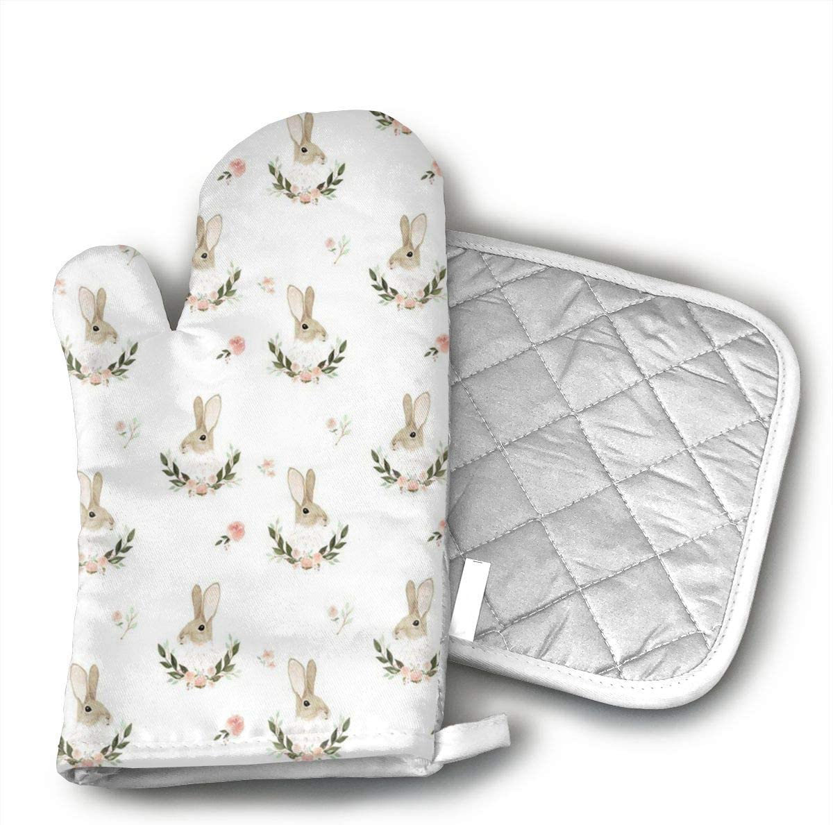 Whimsical Rabbit Small Oven Mitts and Potholders (2-Piece Sets) - Kitchen Set with Cotton Heat Resistant,Oven Gloves for BBQ Cooking Baking Grilling