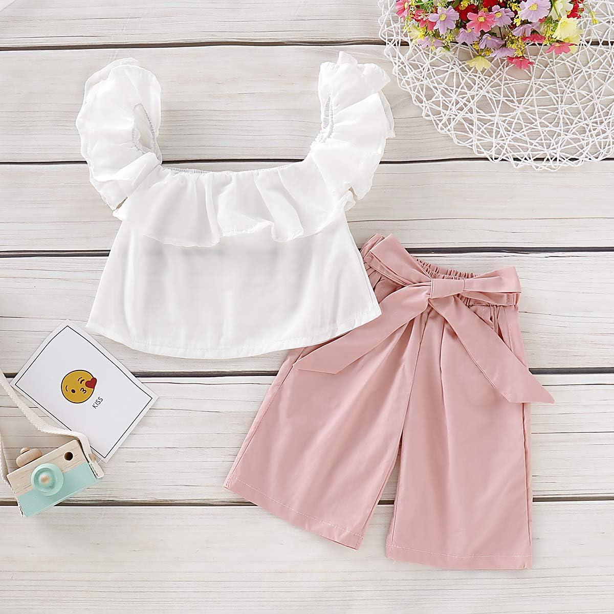 DaMohony Set di 2 Magliette da Bambina con Volant e Pantaloni con Fiocco