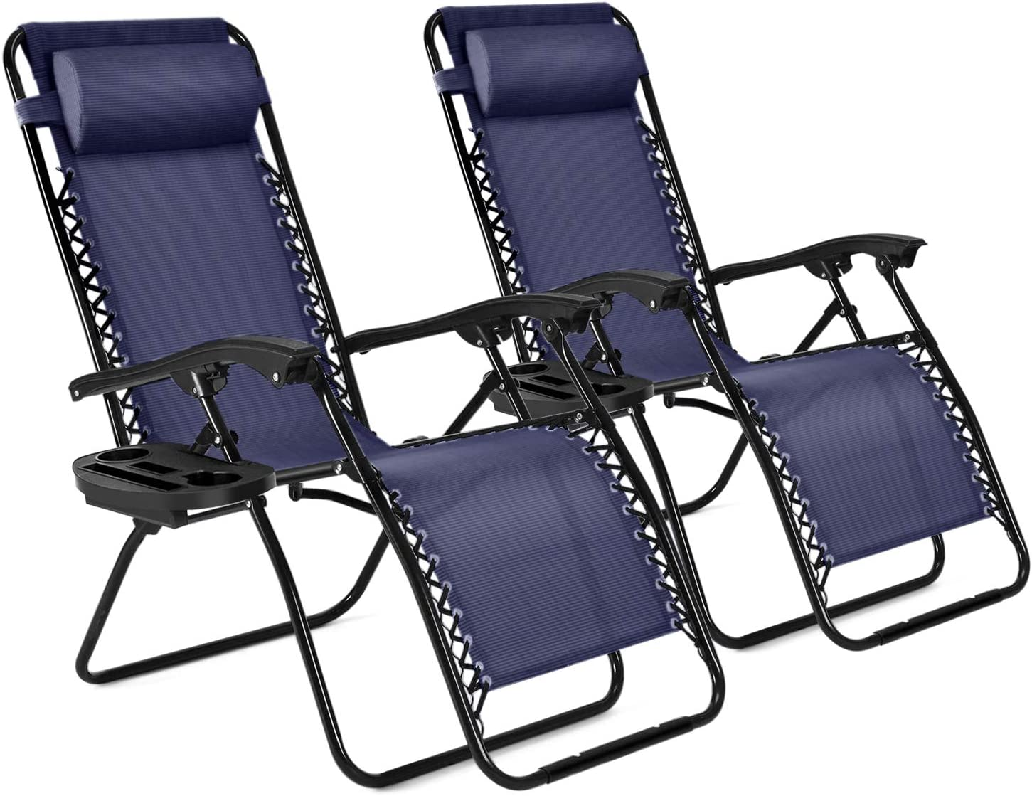Flexzion Zero Gravity Patio Lounge Chairs Recliners Set of 2 Pack (Blue) Reclining Folding Chaise Sun Loungers with Removable Padded Pillow Headrest & Cup Holder Tray, Max Weight 265 Lbs for Outdoor