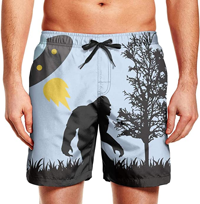 Cartoon Purple Flower Mens Summer Beach Quick-Dry Surf Swim Trunks Boardshorts Cargo Pants
