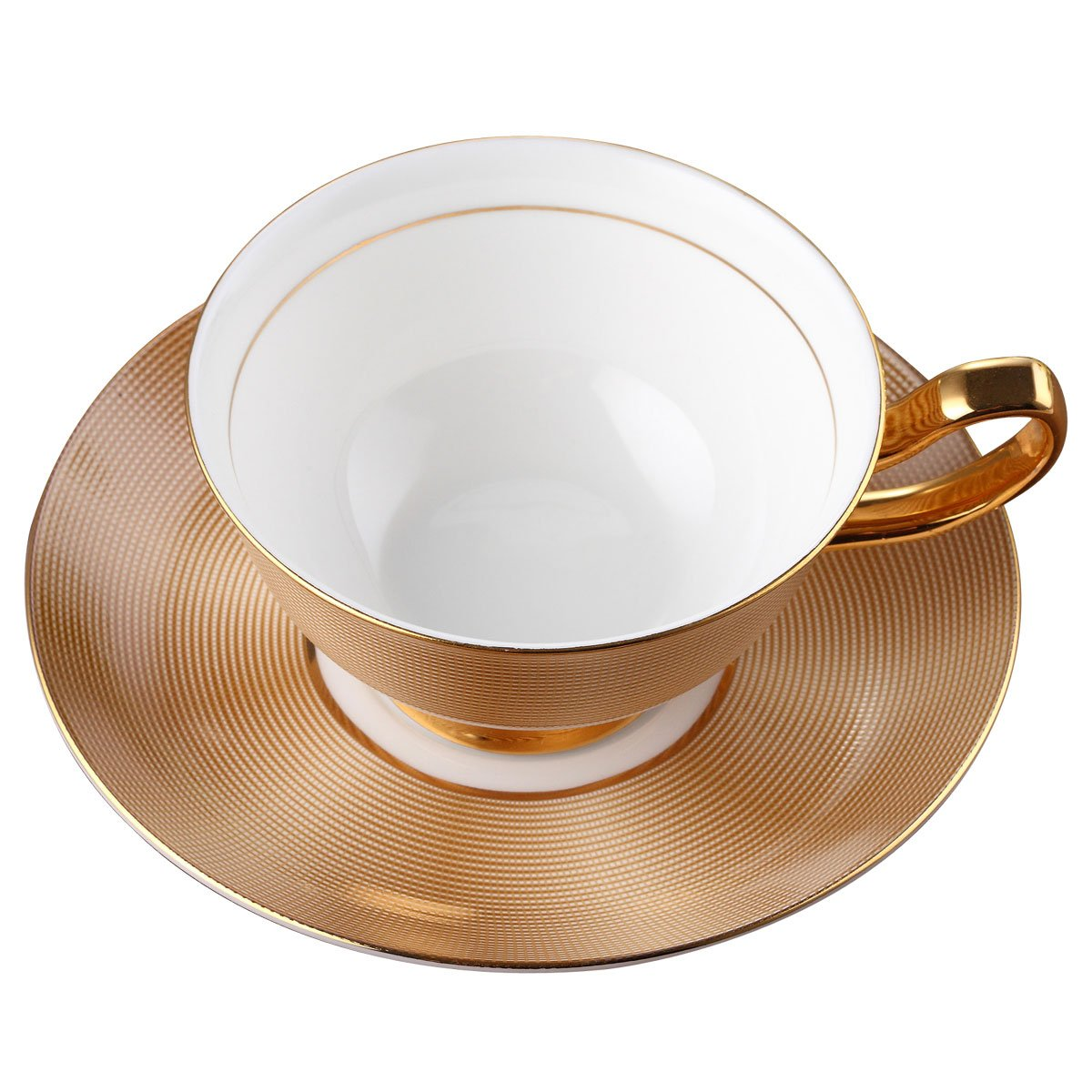 porcelain tea cup and saucer coffee cup set golden color with saucer and spoon 8 737534199725 ebay. Black Bedroom Furniture Sets. Home Design Ideas