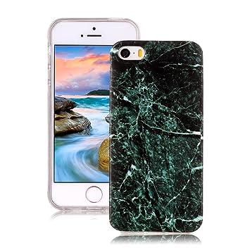 Funda iPhone 5S Mármol, Yunbaozi iPhone SE Case Diseño Mármol Carcasa Suave Goma Silicona Soft Marble Case Textura de Piedra Natural Funda Liso ...