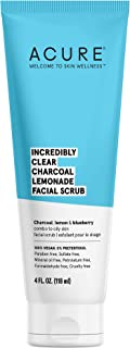 product image for ACURE Incredibly Clear Charcoal Lemonade Facial Scrub | 100% Vegan | For Oily to Normal & Acne Prone Skin | Charcoal, Lemon & Blueberry - Exfoliates & Detoxifies | 4 Fl Oz (Packaging May Vary)