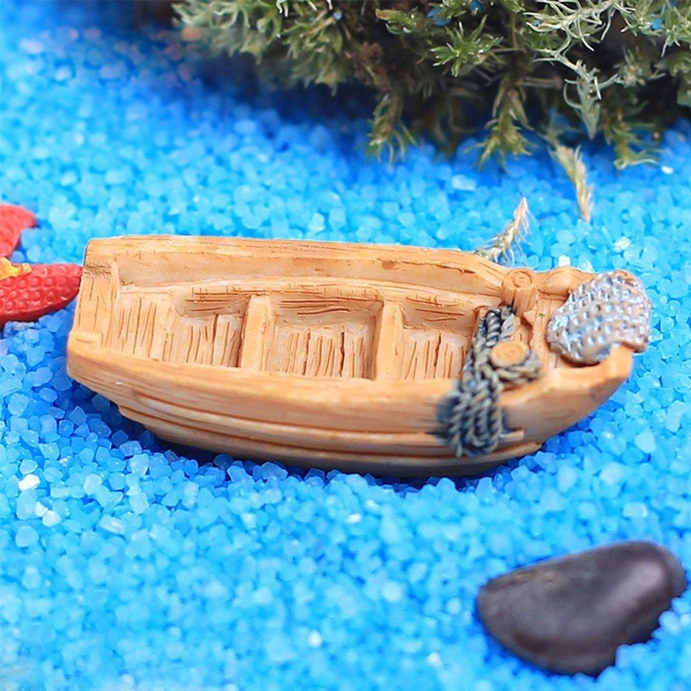 3Pcs Mini Boat Model Resin Craft Miniature Garden Sandbeach Landscape Ornament Fish Tank Decoration
