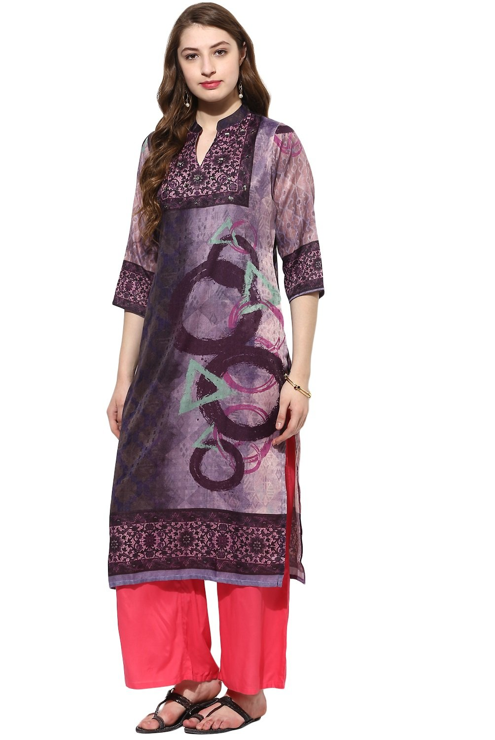 Lagi Kurtis Ethnic Women Kurta Kurti Tunic Digital Print Top Dress Casual Wear New Launch by Purple