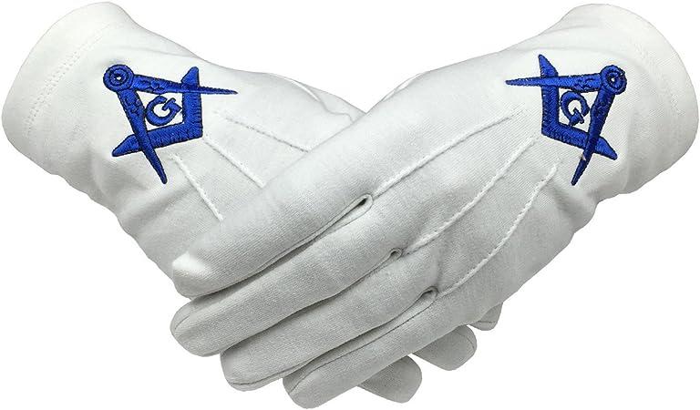 Masonic White Gloves Blue Embroidered G Logo Square /& Compass